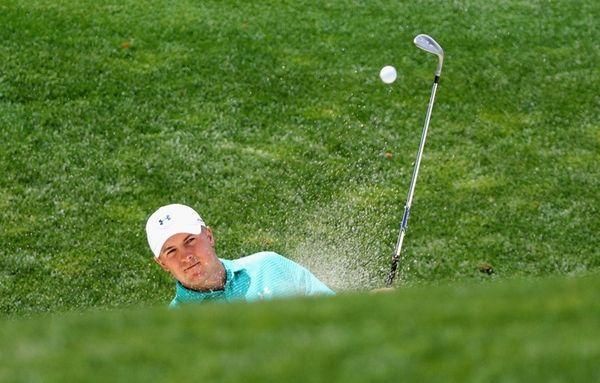 Jordan Spieth plays his shot during a practice