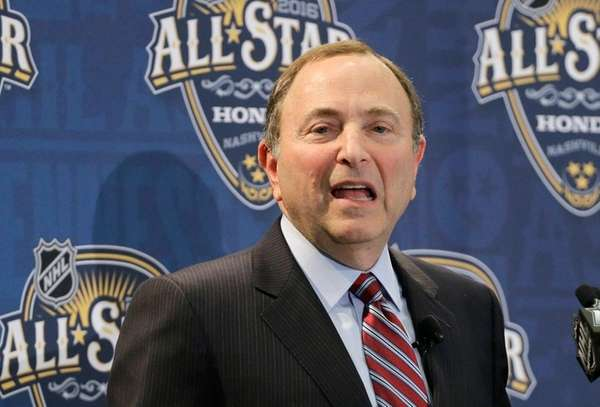 NHL commissioner Gary Bettman speaks during a news