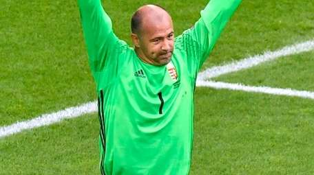 Hungary's goalkeeper Gabor Kiraly celebrates after a 2-0