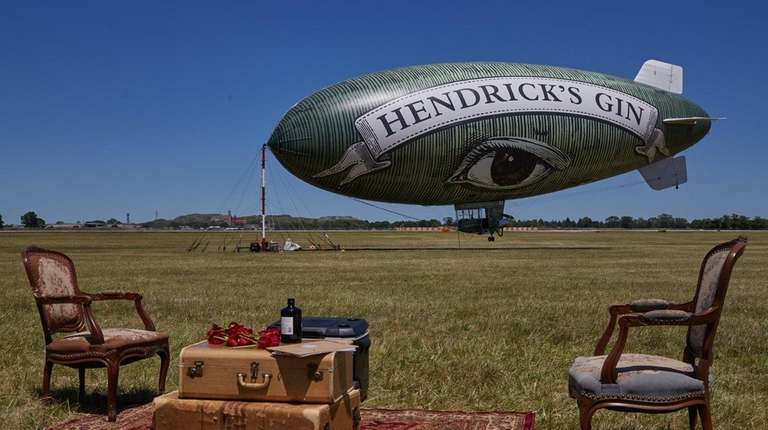 The Hendrick's Gin blimp at Republic Airport in