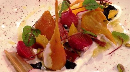 A salad of roasted beets with Greek yogurt,