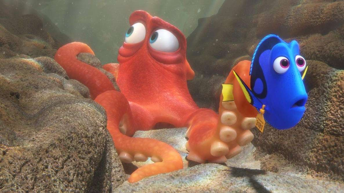 Hank, a cantankerous octopus, helps Dory on her