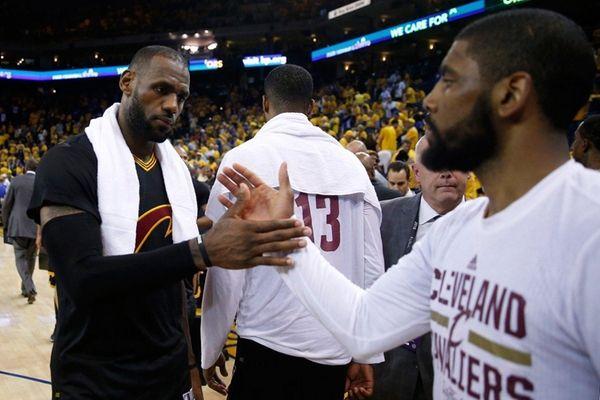 LeBron James #23 of the Cleveland Cavaliers celebrates