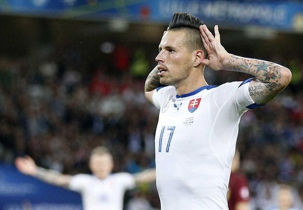 Marek Hamsik of Slovakia celebrates after he scored