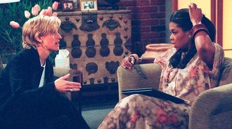 Oprah Winfrey with Ellen DeGeneres in an episode