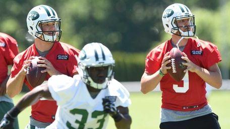 New York Jets quarterbacks Christian Hackenberg and Bryce