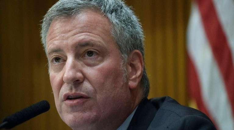 New York City Mayor Bill de Blasio attends