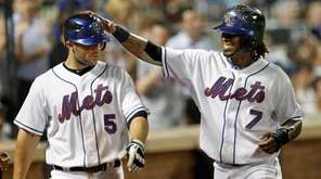 New York Mets shortstop Jose Reyes (7) greets