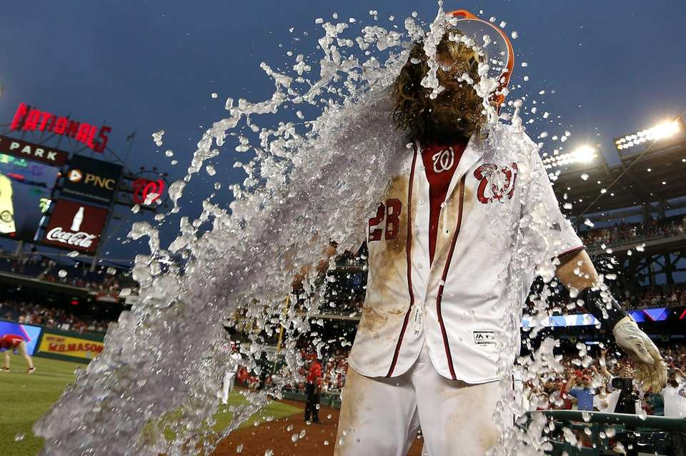 Jayson Werth of the Washington Nationals is doused