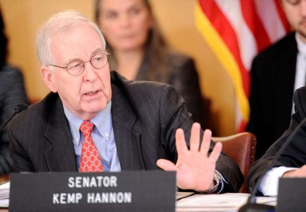 Senator Kemp Hannon during a public meeting at