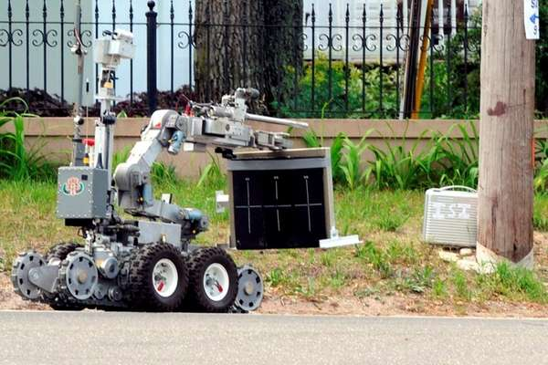 Suffolk County police used a robot to examine