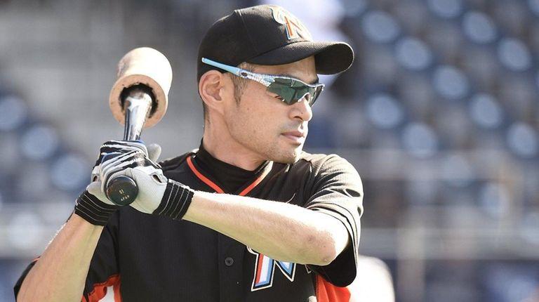 Ichiro Suzuki of the Miami Marlins warms-up during