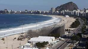 A general view over Copacabana beach with the