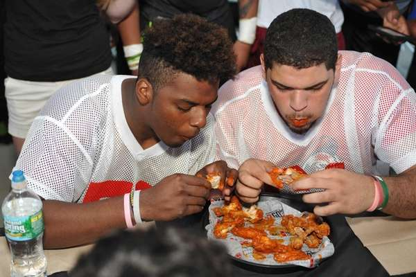 Jahmek Murphy of Tottenville High School, left, and