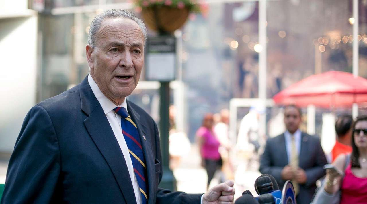 Sen. Chuck Schumer holds a news conference in