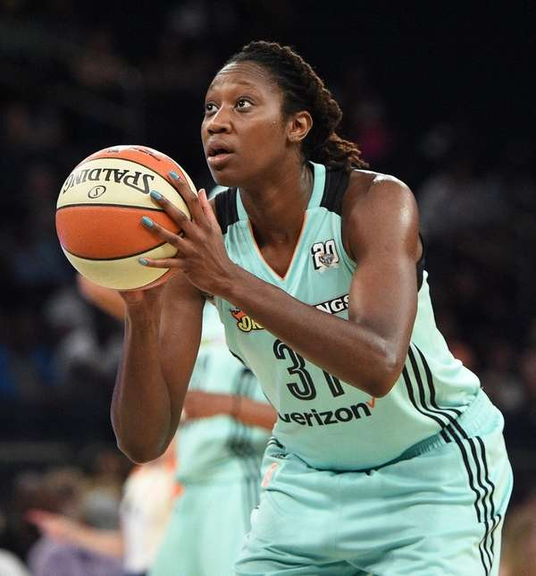 New York Liberty center Tina Charles sinks a