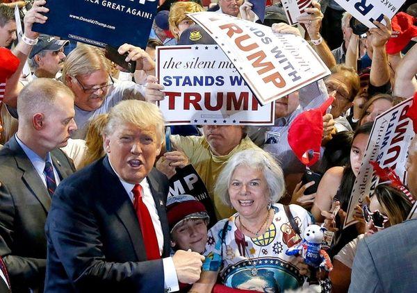Republican presidential candidate Donald Trump shouts to Secret