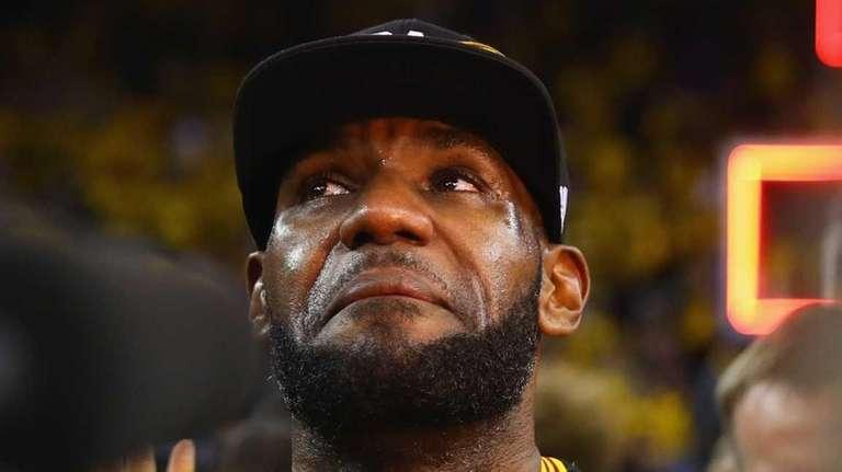LeBron James #23 of the Cleveland Cavaliers reacts