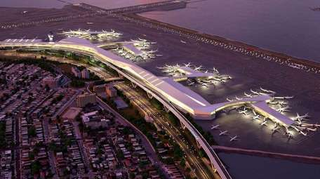 An aerial rendering of LaGuardia Airport extending out