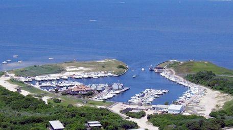 Watch Hill Marina on Fire Island, shown in