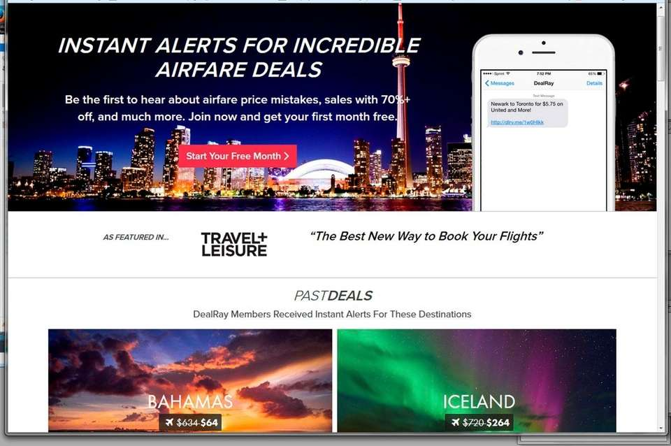 NAME dealray.com WHAT IT IS A subscription-based travel