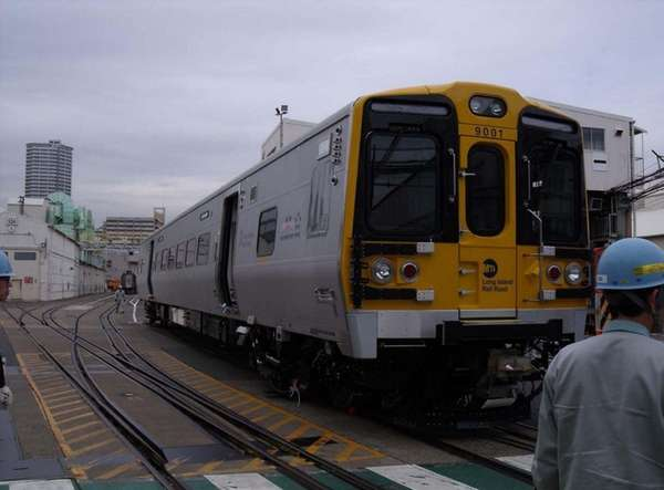 A mockup of a new M-9 train, shown