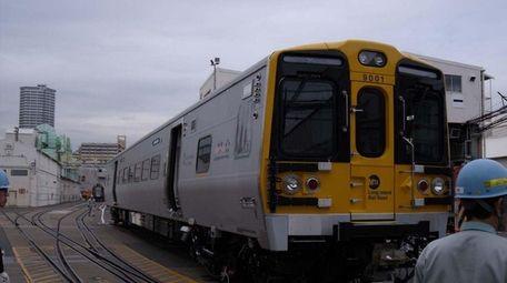A mockup of a new M-9 train, shown