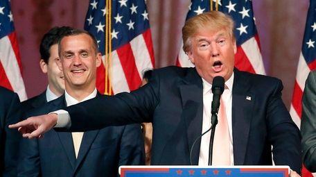 Donald Trump with campaign manager Corey Lewandowski on