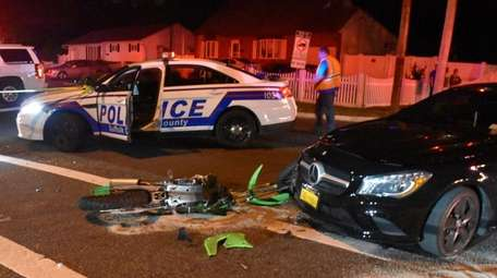 Suffolk County police investigate an accident on the