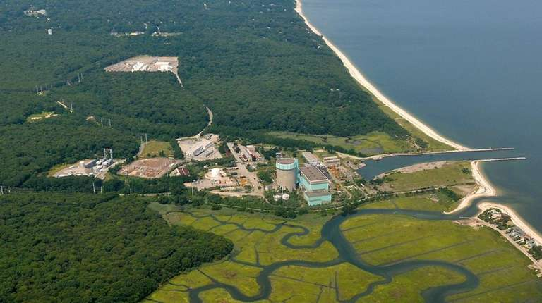 Aerial view of the shuttered Shoreham nuclear plant