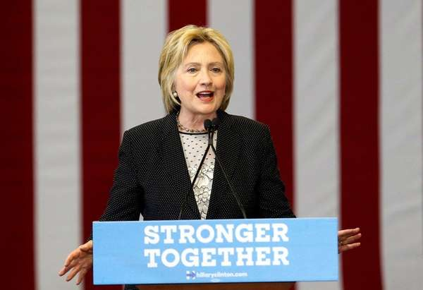Democratic presidential candidate Hillary Clinton speaks about the
