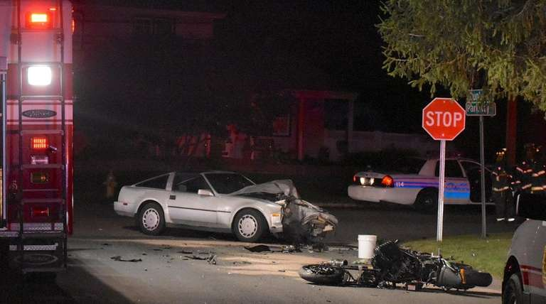 A motorcycle collided with a car late Tuesday,