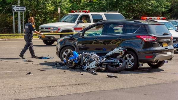 Suffolk County police investigate an accident involving a
