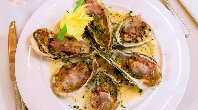 Oysters Veneziana has ample bluepoints with pancetta and