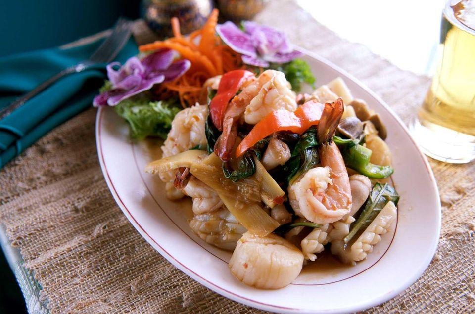 Squid, shrimp and scallops are prepared with chili