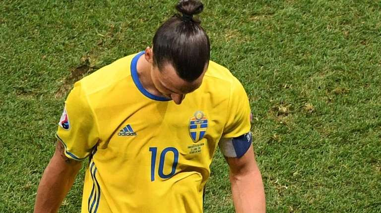 Sweden's forward Zlatan Ibrahimovic reacts during the Euro