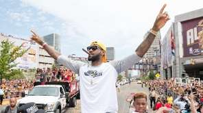 LeBron James of the Cleveland Cavaliers celebrates during