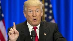 Republican presidential candidate Donald Trump speaks in New
