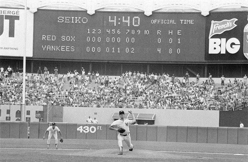 The scoreboard at Yankee Stadium in New York