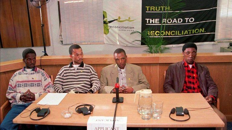 Ntobeko Peni, left, Easy Nofemela, Mongezi Manquina and