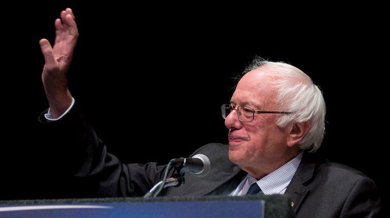 Democratic presidential candidate Sen. Bernie Sanders, I-Vt., gestures