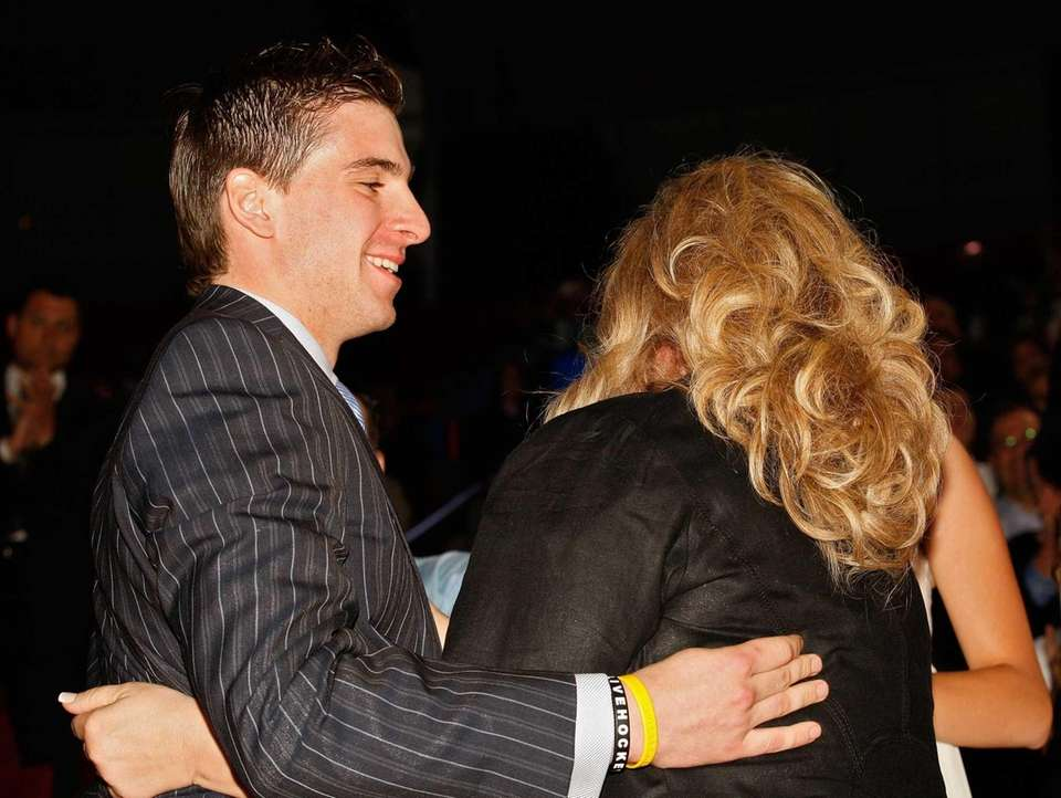 John Tavares celebrates with his family after being