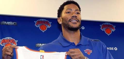 Knicks introduce Derrick Rose during a press conference