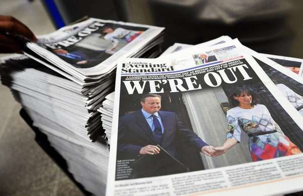 Copies of the London daily newspaper the Evening
