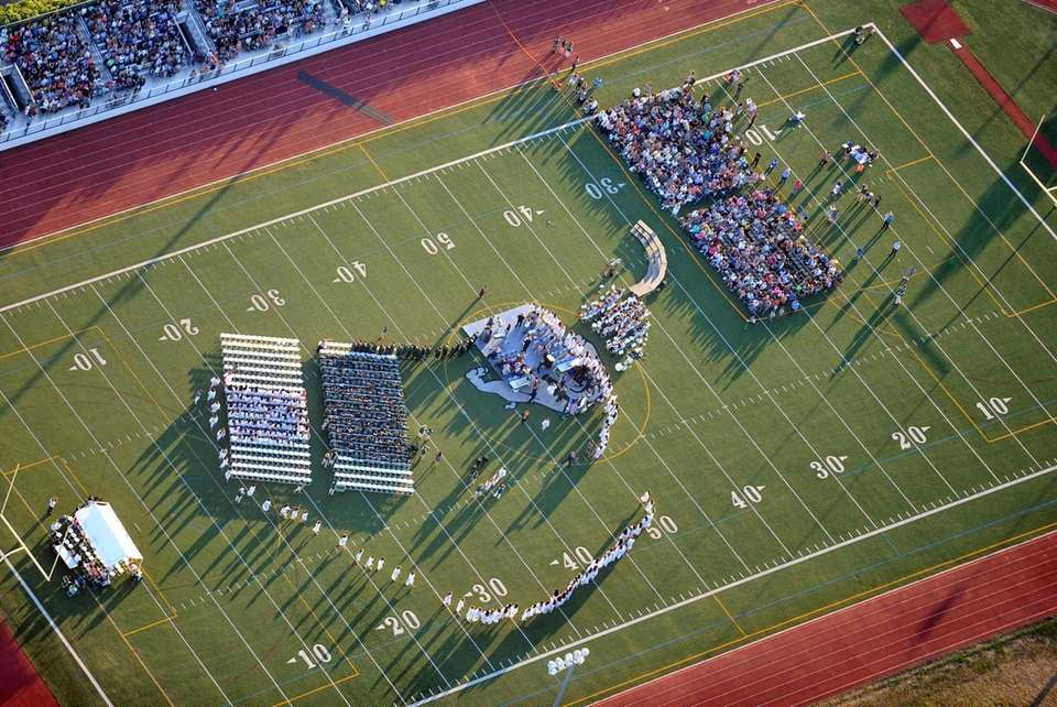 This aerial view shows the Lindenhurst Middle School
