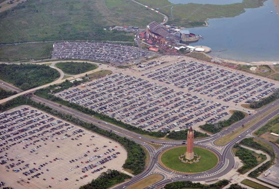 This aerial photo shows the parking lot at