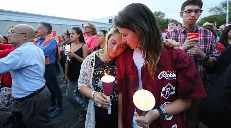 Alex Passante, 17, of Bay Shore, left, and