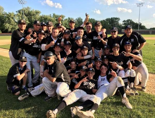 The Wantagh baseball team celebrates its Class A