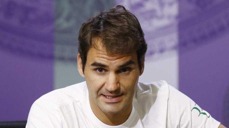 Roger Federer of Switzerland during a press conference