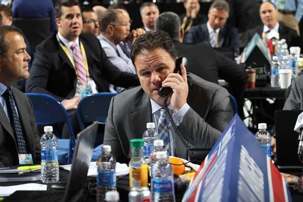 New York Rangers general manager Jeff Gorton attends
